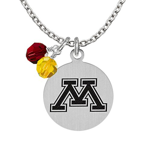 Minnesota Golden Gophers Necklace With Round Charm and Crystal Accents (Gopher Jewelry Pendant)