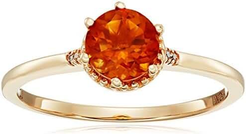 0.68 Carat Genuine Madeira Citrine & White Diamond 14K Yellow Gold Ring