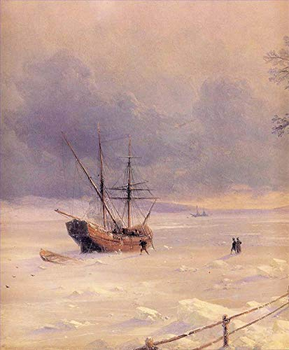 $50-$2000 Hand Painted Art Paintings by College Teachers - Frozen bosphorus Under Snow 1874 Romantic Ivan Aivazovsky Russian Oil Painting for Wall Art Decor -Size 09