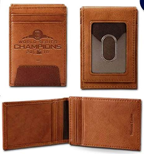 Rico Industries, Inc. Boston Red Sox 2018 World Series Champions Premium Brown Leather Money Clip Front Pocket Wallet Embossed Baseball