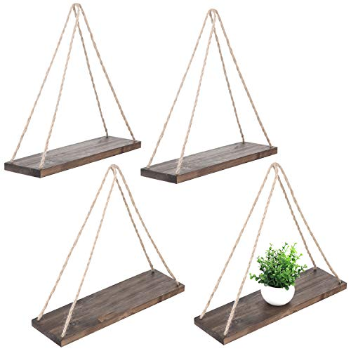 - MyGift Set of 4 Rustic Brown Wood Rope-Hanging Swing Wall Shelves