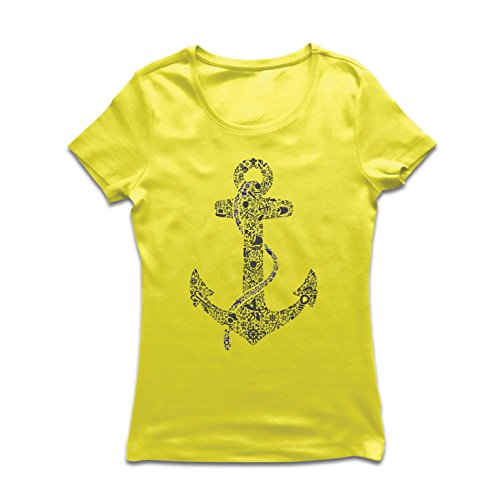 T Shirts for Women Salty Sailor Anchor, Sea Marine Sailor Shirt, Sailing and Yachting Clothing (Large Yellow Multi Color) ()
