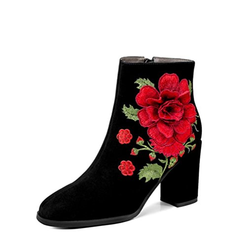 Broderi Winter Black Hæl 4u Tå Booties Kvinners Vinter Rund Shoes Suede Ankle Heel Chunky 4u Sko Chunky Embroidery Booties Round Flower Toe Semsket Ankelen Beste Boots Høst Blomst Svart Best Støvler Women's Fall dAxTqWYw44