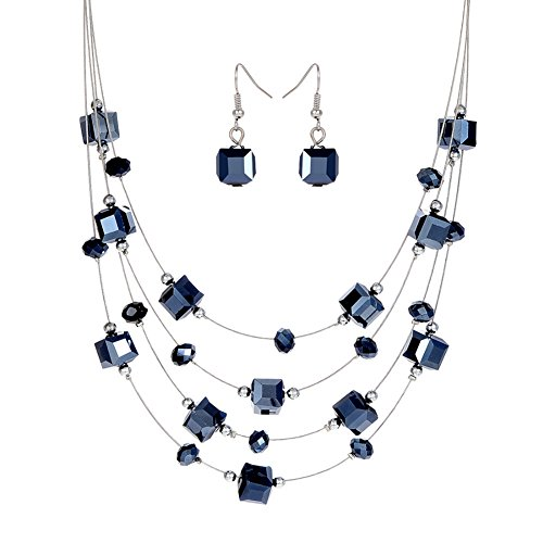 2016 Newest Fashion Vintage Jewelry Sets Joker Bohemian Crystal Multilayer Royal Blue Beads Statement Necklace Earrings Set^