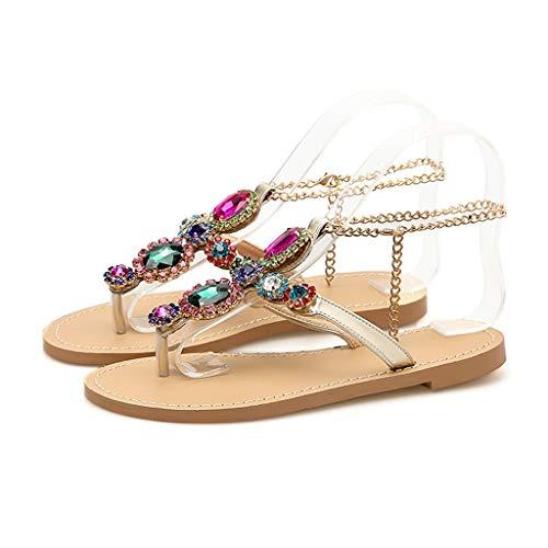 VowesFashion Women Round Toe Lippers Rhinestone Chain Flat Sandals Bohemia Shoes Rhinestones Chains Flat Flip Flops Sandals Silver ()