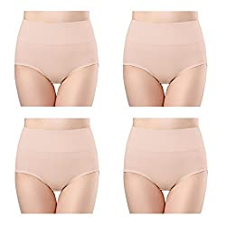 Wirarpa Women S Cotton Underwear Panties High Waisted Full Briefs 4 Pack Ladies No Muffin Top Underpants Beige Size 8 X Large