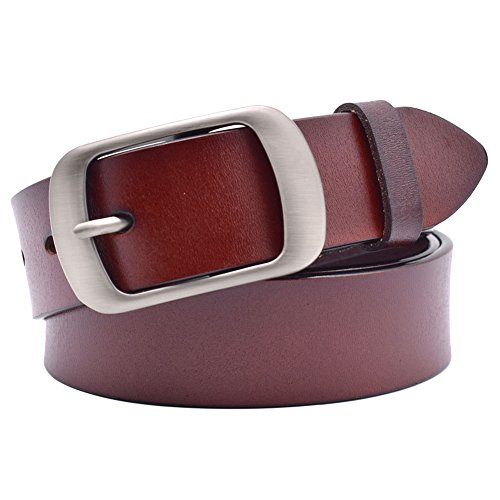 Vonsely Soft Wide Leather Belt for Jeans Shorts, Classic Plain Pattern Trousers Leather Belt with Metal Buckle, Red Brown Belt 115CM