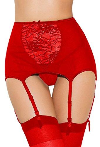 Fairishe Womens Lace Garter Belt Hosiery Thigh High Stockings Adjustable Suspender Belt (Gartered Stockings)