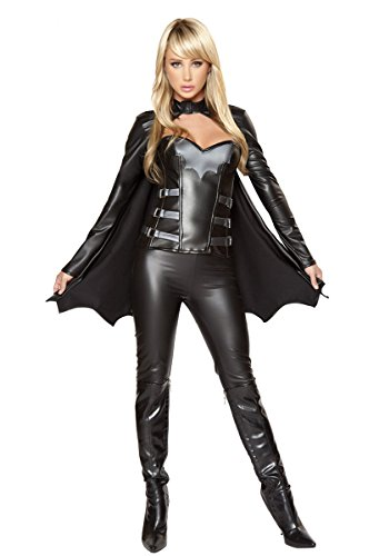 SODAO Women Sexy Black Leather Heroes Superman Costume Cosplay Spiderman Batman (Black Superman Cosplay)