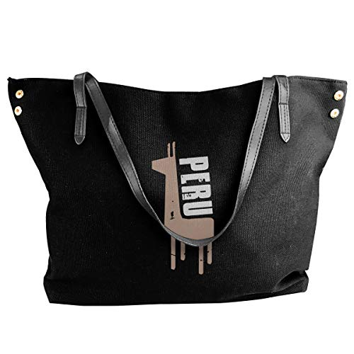 Retro Peruvian Peru Alpaca Canvas Shoulder Bags Casual Handbag For Women Black
