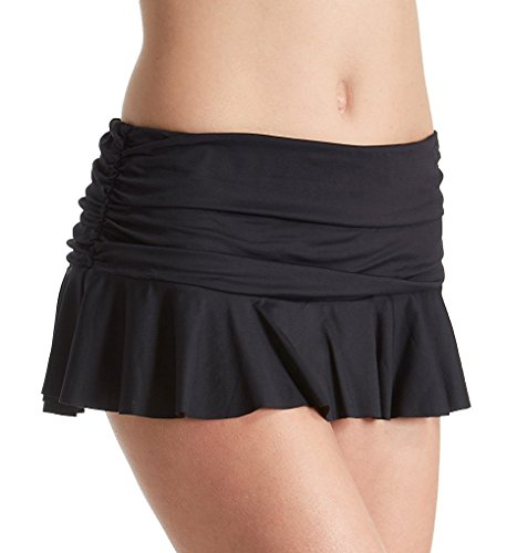 Lauren Ralph Lauren Beach Club Skirted Brief Swim Bottom (LR7DA92) 12/Black (Womens Skirted Hipster Swimwear)