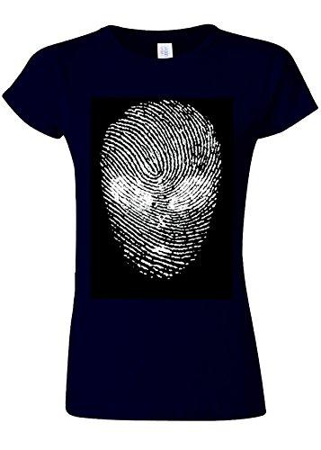 止まる部門ヒゲFinger Print Alien Space Galaxy Novelty Navy Women T Shirt Top-S