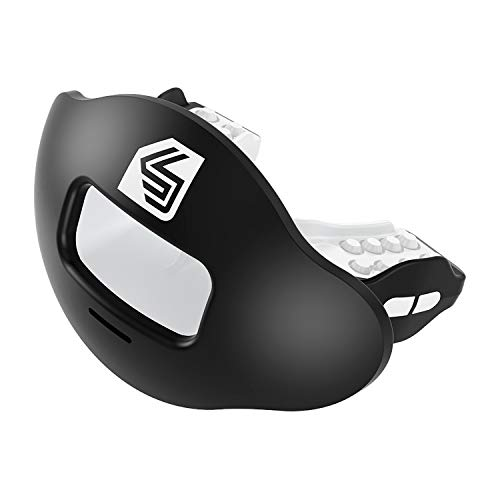 Shock Doctor Max Airflow 2.0 Lip Guard / Mouth Guard. Football Mouthguard 3500. For Youth and Adults OSFA. Breathable Wide Opening Mouthpiece. Helmet Strap Included ()