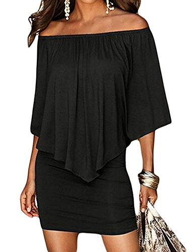 Haola Womens Summer Cold Shoulder Off Ruffles Bodycon Mini Dress