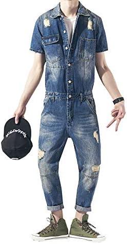 つなぎ メンズ おしゃれ ツナギ パンツ 作業服 春夏 オールインワン メンズ デニム つなぎ オーバーオール 半袖 ジーンズ カバーオール
