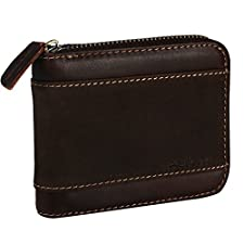 Horiya RFID Blocking Leather Bifold Wallet With Zipper Pocket For men