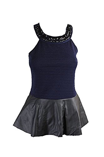 1e5a53053b8 Image Unavailable. Image not available for. Color: Stoosh Juniors'  Embellished Faux-Leather Peplum Top ...
