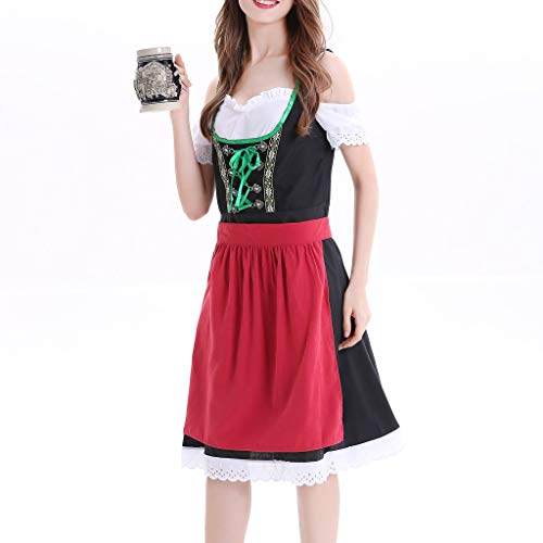 Vintage Dresses for Women Wedding, Women Plus Size Dirndl Dress Carnival Bavarian Oktoberfest Cosplay Costumes -
