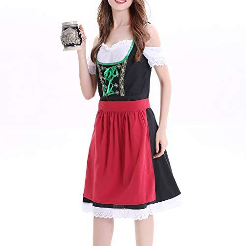 Vintage Dresses for Women Wedding, Women Plus Size Dirndl Dress Carnival Bavarian Oktoberfest Cosplay Costumes Black]()