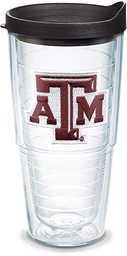 Tervis 1044555 Texas A&M Aggies Logo Tumbler with Emblem and Black Lid 24oz, Clear
