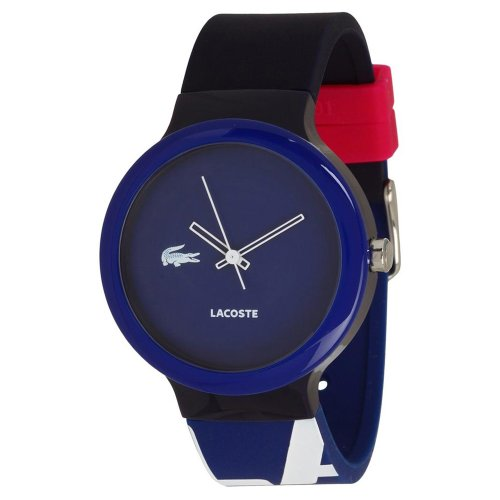 Lacoste GOA Dark Blue Dial Black and Dark Blue Silicone Unisex Watch 2020043