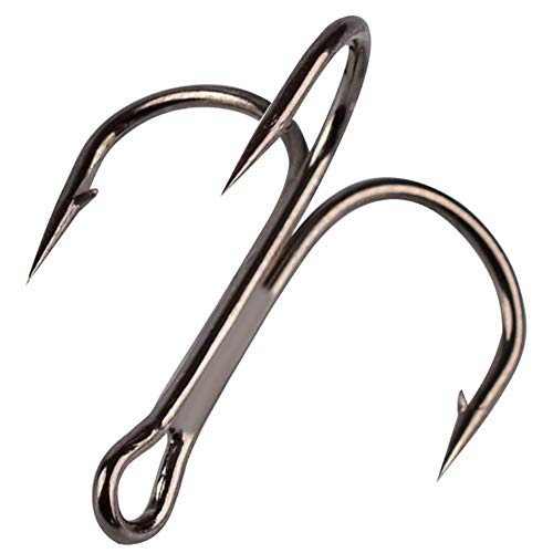 (Persei 100pcs Fishing Hook Treble Hooks High Carbon Treble Hooks Super Sharp Solid Size 2 4 6 8 10 12 Triple Barbed Steel Fish Hook (Black, 6#-100pcs))