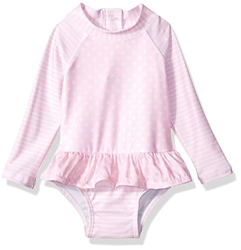 Flap Happy Baby Girls UPF 50+ Alissa Infant Rash Guard Swimsuit, Pink dot, 24M
