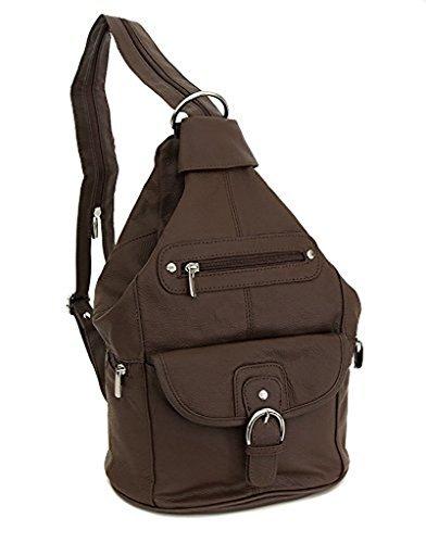 Womens Leather Convertible 7 Pocket Medium Size Tear Drop Sling Backpack Purse Shoulder Bag, Dark Brown