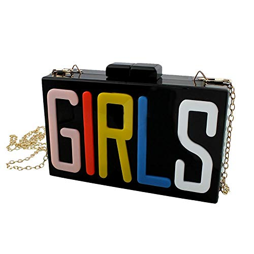Women's Rectangular Acrylic Lucite GIRLS Evening Bag Party Clutch Handbag
