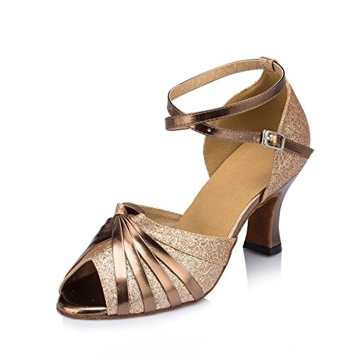 Cow gold eu35 Chaussures Sandals Buckle Mode uk4 Latine Strappy Suede Heel Leather Danse Ankle De Chunky Dquietness Femmes Tango Ballroom Salsa Womens our36 YqT1H