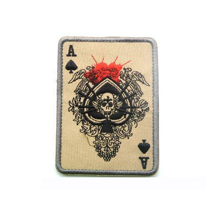 Ace of Spades Winged Skull Card Military Patch Fabric Embroidered Badges Patch Tactical Stickers for Clothes with Hook & Loop