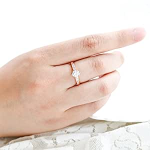 Edary Engagement Ring Six-claw Zircon Ring Rose Gold Plating Ring for Women (10, Rose gold)