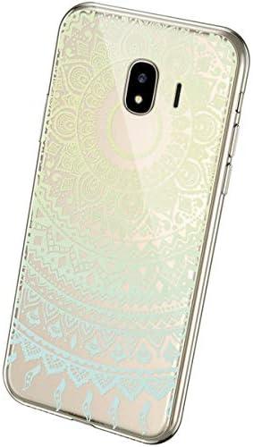 Uposao Kompatibel mit Samsung Galaxy J4 2018 Handyhülle Transparent mit Muster Motiv TPU Silikon Schutzhülle Case Crystal Clear Handytasche Dünn Stoßfest Bumper Backcover,Grün Mandala Blumen