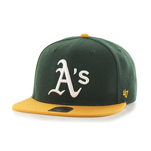 '47 MLB Oakland Athletics Sure Shot Two Tone Captain Adjustable Snapback Hat, Dark Green, One Size