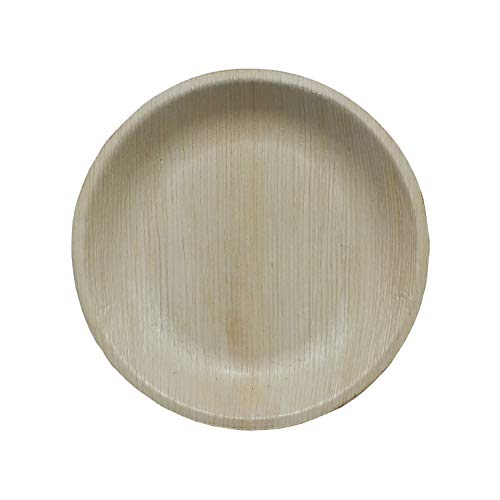 NATURAWARES Biodegradable Round Plate for Salads Suitable for Parties, Compostable and Eco-Friendly Disposable Areca Palm Leaf - Pack of 100-7 Inch (Serving Round Leaf Plate)