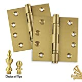 2-Pack Door Hinges 4.5'' x 4.5'', Architectural Solid Brass Ball Bearing Hinges, Satin Brass (US4) Finish, Stainless Steel Pin, Ball/Urn/Button Tips Included - Set of 2 Hinges
