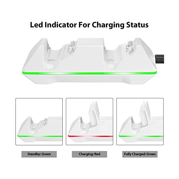 Controller Charger for Xbox One, CVIDA Dual Xbox One/One S/One Elite Charging Station with 2 Rechargeable Battery Packs… 2