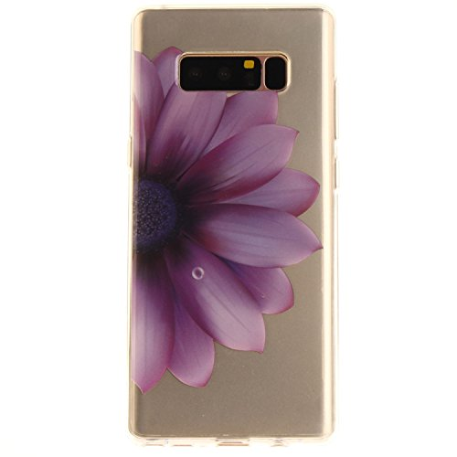 Jewby Glaxy Note 8 Case, Free Screen Protector, Soft Clear Rubber Case Cover for Samsung Galaxy Note 8 (Purple flower)