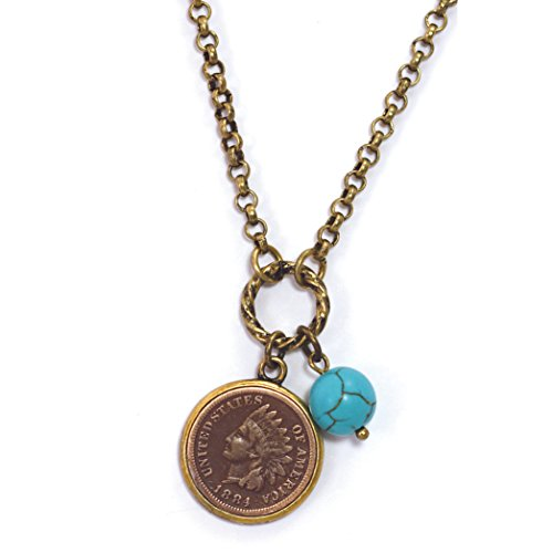 American Coin Treasures Indian Head Cent with Genuine Turquoise Bead Coppertone Coin Pendant