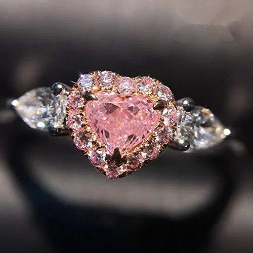 (Waldenn Pink Love Heart White Pear Cut CZ Wedding Ring Womens 925 Silver Ring Size 5-10 | Model RNG - 27331 | 10 )