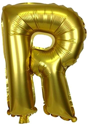 """Custom, Fun & Cool {Big Large Size 40"""" Inch} 1 Unit of Helium & Air Inflatable Mylar Foil Balloons Celebratory American Alphabet Small Capital Letter R w/ Metallic Design [in Gold Color] (Capital Letter For Halloween)"""