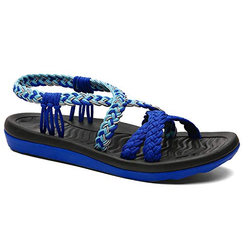 MEGNYA Women's Comfortable Walking Sandals with Arch Support Waterproof for Walking/Hiking/Travel/Wedding/Water Spot/Beach 19ZDME03-W34-6 Royal Blue