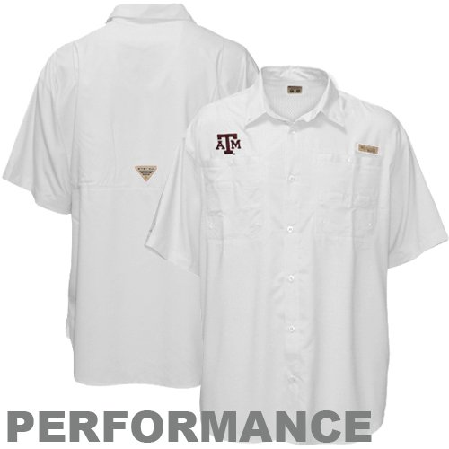 NCAA Columbia Texas A&M Aggies Tamiami Button-Up Performance Fishing Shirt - White (Large)