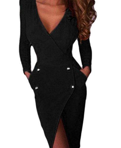 Sheng Xi Women's Fashion Solid Backless Fitted Bodycon Evening Party Dress Black XS