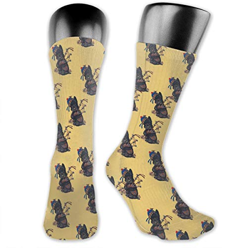 ORASYA Women Men Classic Comfortable Stretchable Scottie Dog with Bagpipes Pattern Socks Mid-Calf Crew Socks Compression Socks for Sports Running Hiking Football