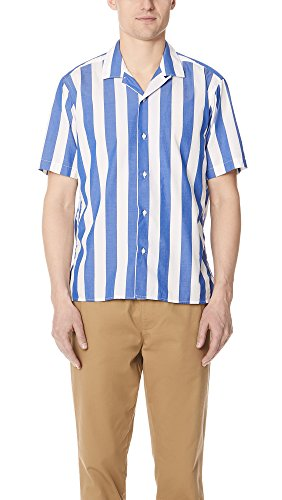 Blue Striped Camp Shirt (Gitman Vintage Men's Wide Striped Camp Shirt, Blue, Medium)