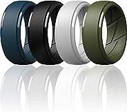 ThunderFit Silicone Wedding Rings for Men Breathable Airflow Inner Grooves - 7 Rings / 4 Rings / 1 Ring - Step