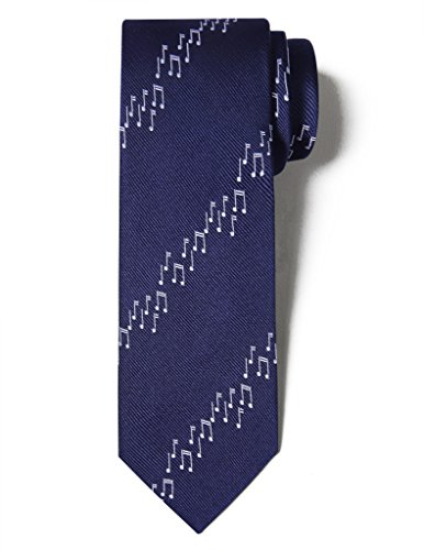 Origin Ties Men's Fashion 100% Silk Handmade Unique Musician 3 Skinny Tie Navy Blue