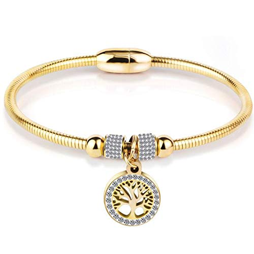 Jude Jewelers Stainless Steel Magnetic Tree of Life Charm Bangle Bracelet Cocktail Party - Bangle Steel Gold Stainless