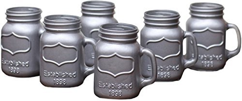 Circleware Mini Yorkshire Mason Jar Mug Metallic Silver Glass Shot Glass Set with Glass Handles, Set of 6, 5 Ounce Each, Whiskey Glassware Drinkware Barware Drinking Glasses By Circleware (Mini Beer Mug Glasses compare prices)